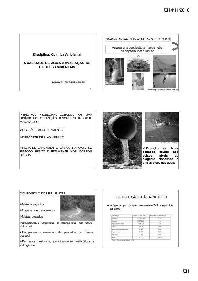 14/11/2010 1 1 Disciplina: Química Ambiental QUALIDADE DE ÁGUAS: AVALIAÇÃO DE EFEITOS AMBIENTAIS Elizabeth Weinhardt Schef...