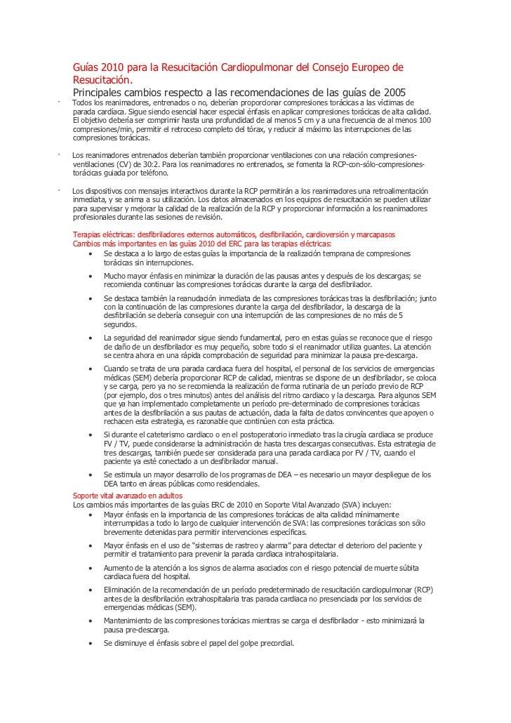Guías 2010 para la Resucitación Cardiopulmonar del Consejo Europeo de    Resucitación.    Principales cambios respecto a l...
