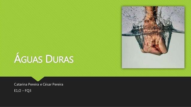 ÁGUAS DURAS  Catarina Pereira e César Pereira  E1/2 – FQ3