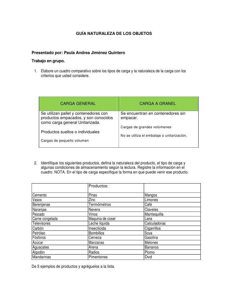 GUÍA NATURALEZA DE LOS OBJETOS<br />Presentado por: Paula Andrea Jiménez Quintero<br />Trabajo en grupo.<br />Elabore un c...