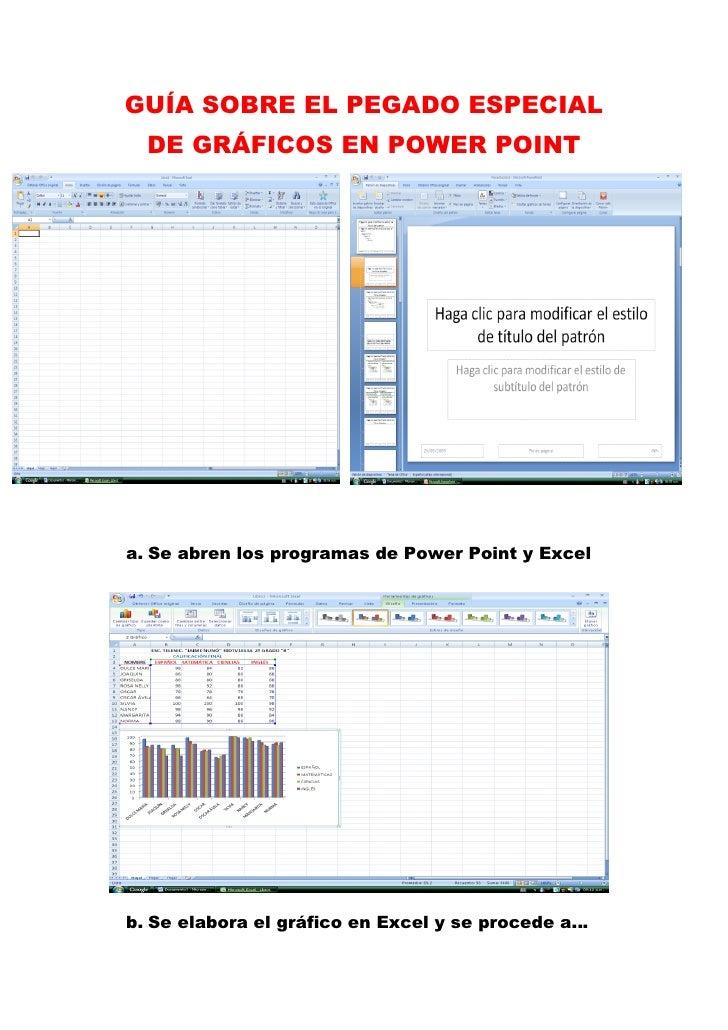 GUÍA SOBRE EL PEGADO ESPECIAL   DE GRÁFICOS EN POWER POINT     a. Se abren los programas de Power Point y Excel     b. Se ...