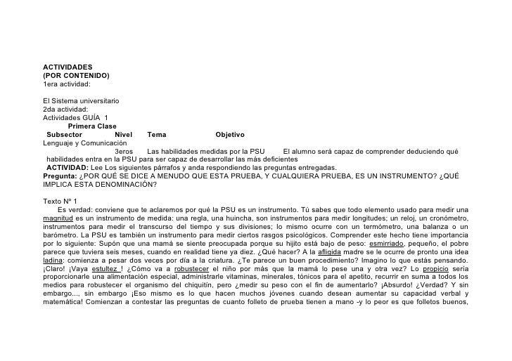 ACTIVIDADES (POR CONTENIDO) 1era actividad:  El Sistema universitario 2da actividad: Actividades GUÍA 1         Primera Cl...