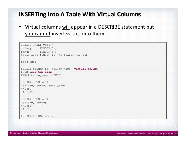 Oracle Insert Statements for DBAs and Developers