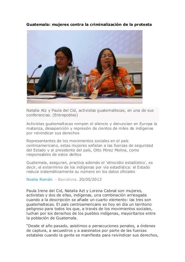 Guatemala: mujeres contra la criminalización de la protestaNatalia Atz y Paula del Cid, activistas guatemaltecas, en una d...