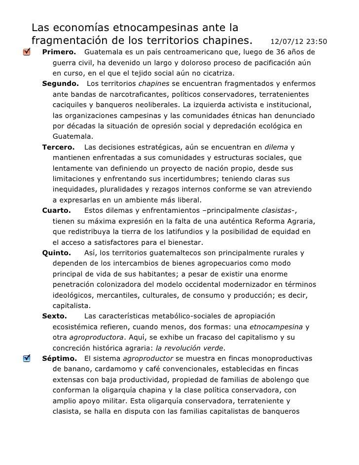Las economías etnocampesinas ante lafragmentación de los territorios chapines.                            12/07/12 23:50  ...
