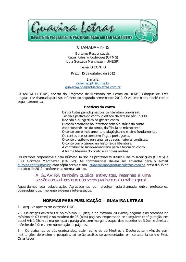 CHAMADA – nº 15                                     Editores Responsáveis:                                Rauer Ribeiro Ro...
