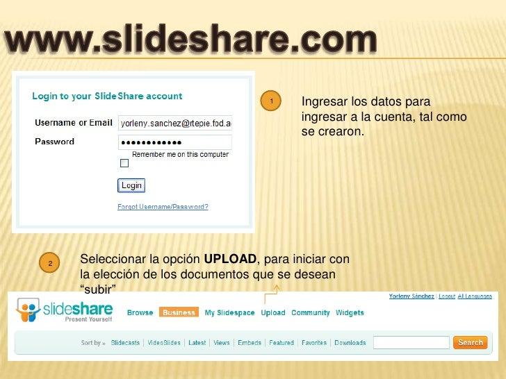 www.slideshare.com<br />Ingresar los datos para ingresar a la cuenta, tal como se crearon.<br />1<br />2<br />Seleccionar ...