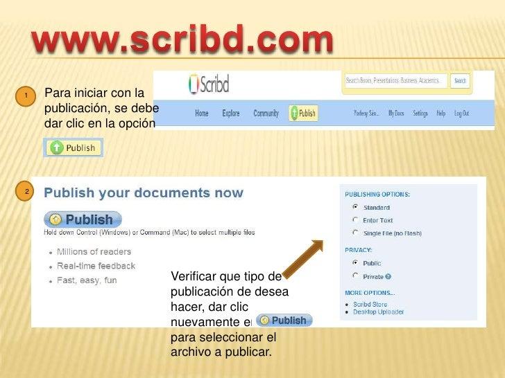 www.scribd.com<br />Para iniciar con la publicación, se debe dar clic en la opción <br />1<br />2<br />Verificar que tipo ...