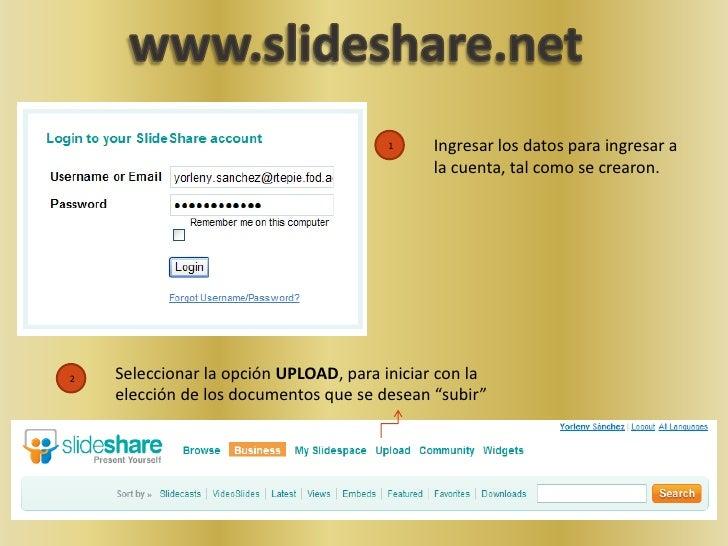 www.slideshare.net<br />Ingresar los datos para ingresar a la cuenta, tal como se crearon.<br />1<br />2<br />Seleccionar ...