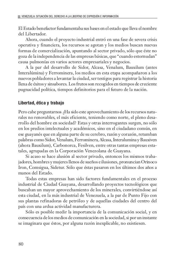 VENEZUELA: SITUACIÓN DEL DERECHO A LA LIBERTAD DE EXPRESIÓN E INFORMACIÓNEl Estado benefactor fundamentaba sus bases en el...