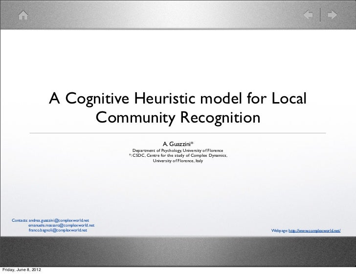 A Cognitive Heuristic model for Local                            Community Recognition                                    ...