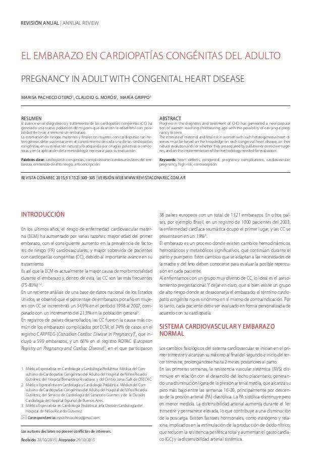 REVISIÓN ANUAL   ANNUAL REVIEW EL EMBARAZO EN CARDIOPATÍAS CONGÉNITAS DEL ADULTO PREGNANCY IN ADULT WITH CONGENITAL HEART ...
