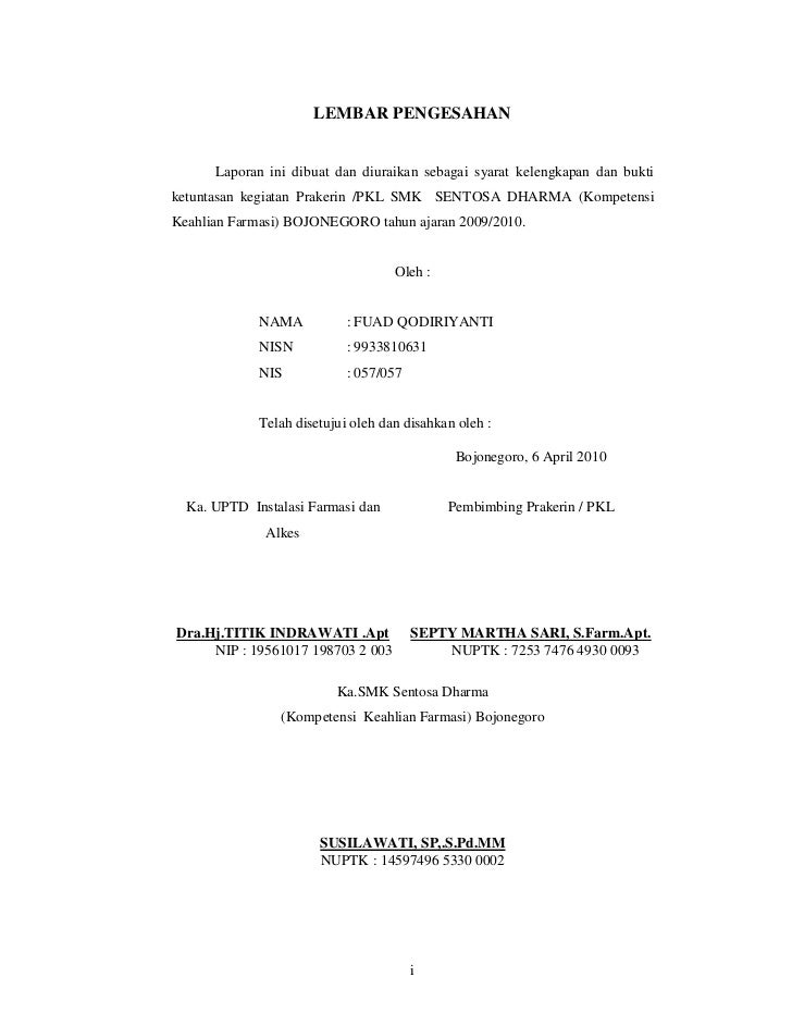 Contoh Lembar Pengesahan Laporan Pkl Smk Farmasi Kumpulan Contoh Laporan