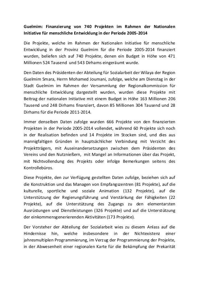 Guelmim: Finanzierung von 740 Projekten im Rahmen der Nationalen Initiative für menschliche Entwicklung in der Periode 200...