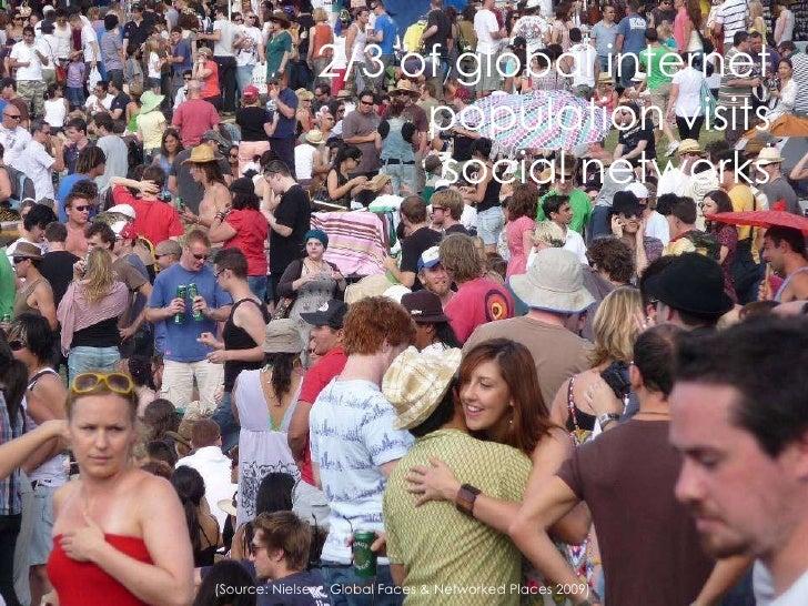 <ul><li>2/3 of global internet population visits social networks </li></ul>(Source: Nielsen , Global Faces & Networked Pla...