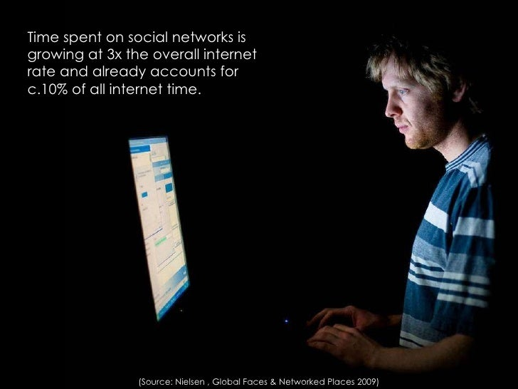<ul><li>Time spent on social networks is growing at 3x the overall internet rate and already accounts for c.10% of all int...