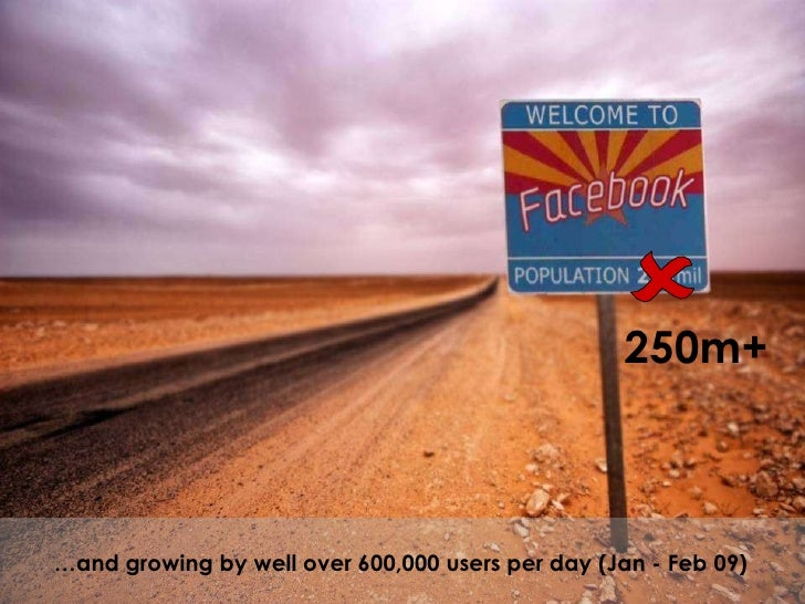 … and growing by well over 600,000 users per day (Jan - Feb 09) 250m+