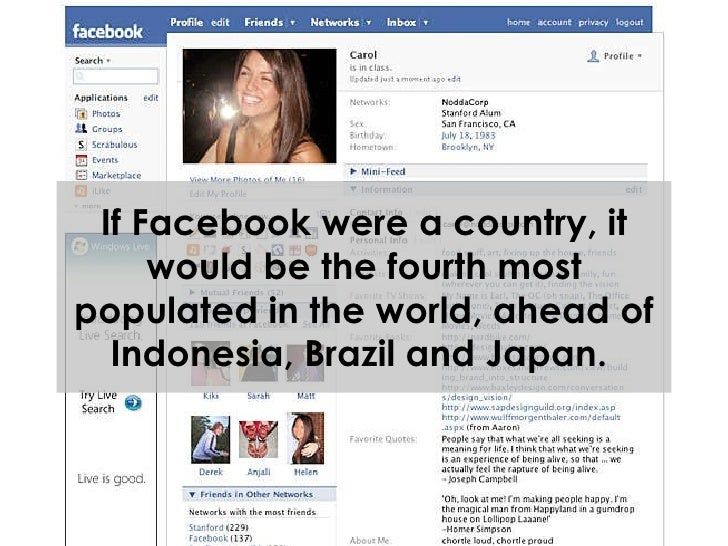 If Facebook were a country, it would be the fourth most populated in the world, ahead of Indonesia, Brazil and Japan.