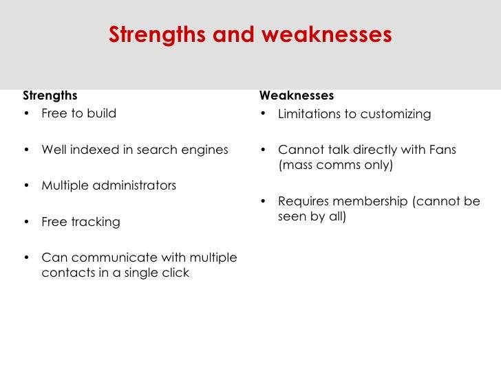 <ul><li>Strengths </li></ul><ul><li>Free to build  </li></ul><ul><li>Well indexed in search engines </li></ul><ul><li>Mult...