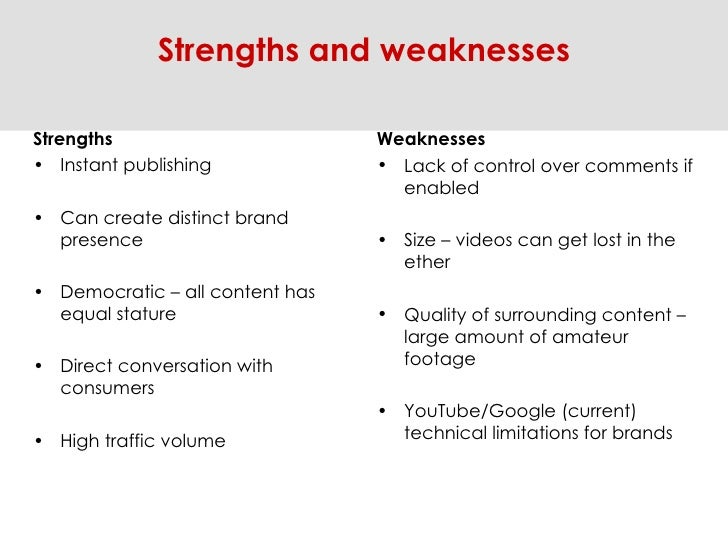 <ul><li>Strengths </li></ul><ul><li>Instant publishing  </li></ul><ul><li>Can create distinct brand presence </li></ul><ul...