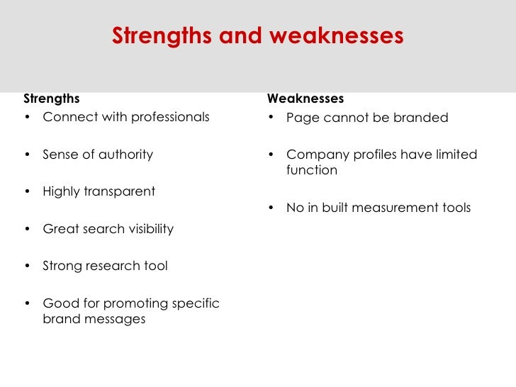<ul><li>Strengths </li></ul><ul><li>Connect with professionals </li></ul><ul><li>Sense of authority  </li></ul><ul><li>Hig...
