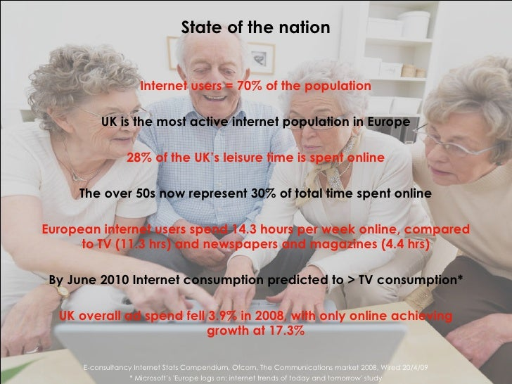 <ul><li>Internet users = 70% of the population </li></ul><ul><li>UK is the most active internet population in Europe </li>...