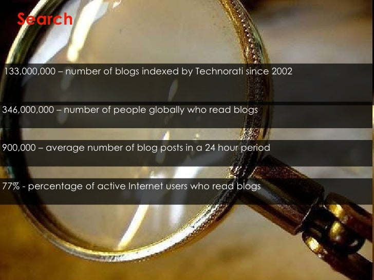Search <ul><li>133,000,000 – number of blogs indexed by Technorati since 2002 </li></ul>346,000,000 – number of people glo...