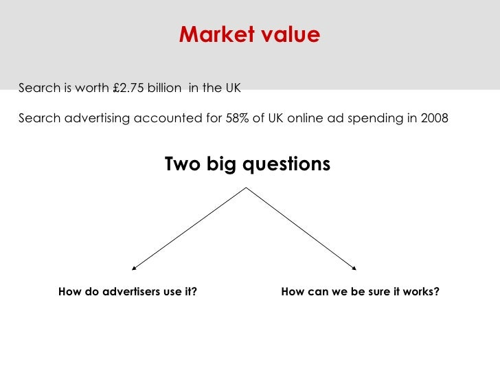 Market value Search is worth £2.75 billion  in the UK Search advertising accounted for 58% of UK online ad spending in 200...
