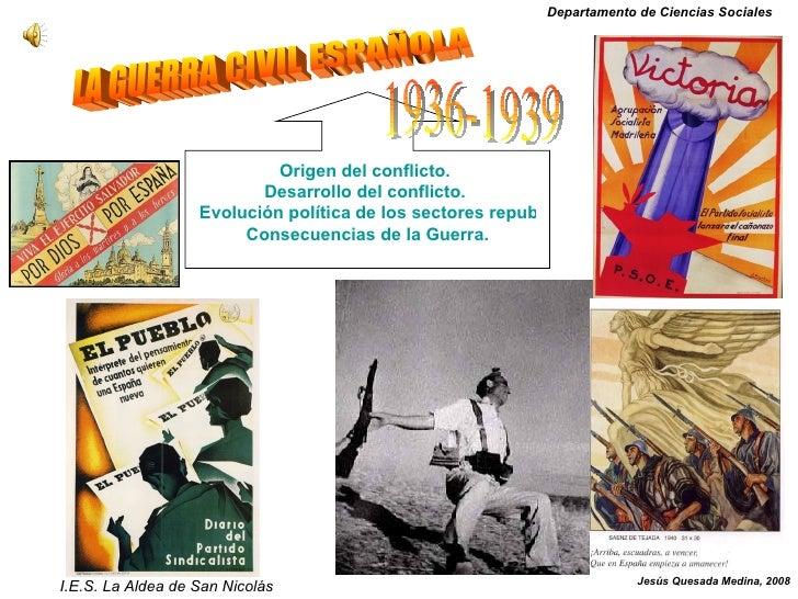 LA GUERRA CIVIL ESPAÑOLA Origen del conflicto.  Desarrollo del conflicto.  Evolución política de los sectores republicano ...
