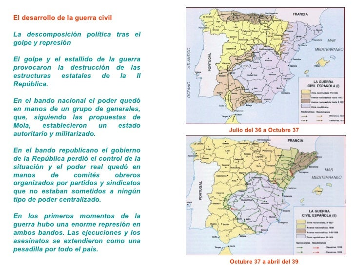 El desarrollo de la guerra civil La descomposición política tras el golpe y represión El golpe y el estallido de la guerra...