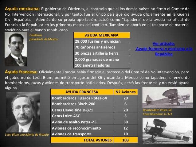 Ayuda mexicana: El gobierno de Cárdenas, al contrario que el los demás países no firmó el Comité deNo Intervención Interna...