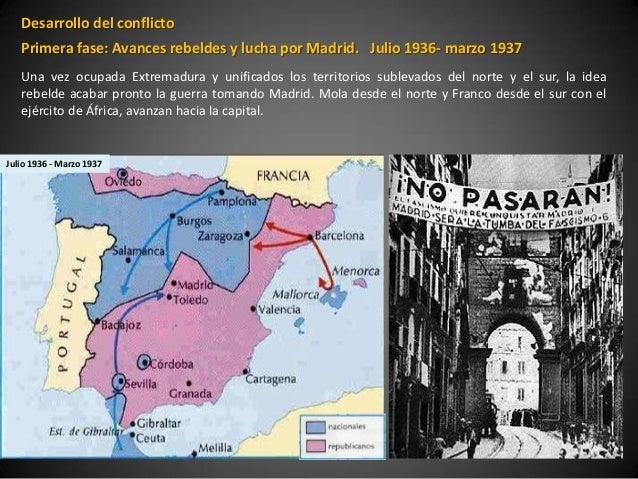 Desarrollo del conflicto   Primera fase: Avances rebeldes y lucha por Madrid. Julio 1936- marzo 1937   Una vez ocupada Ext...