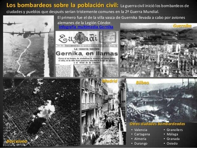 Los bombardeos sobre la población civil: La guerra civil inició los bombardeos deciudades y pueblos que después serían tri...