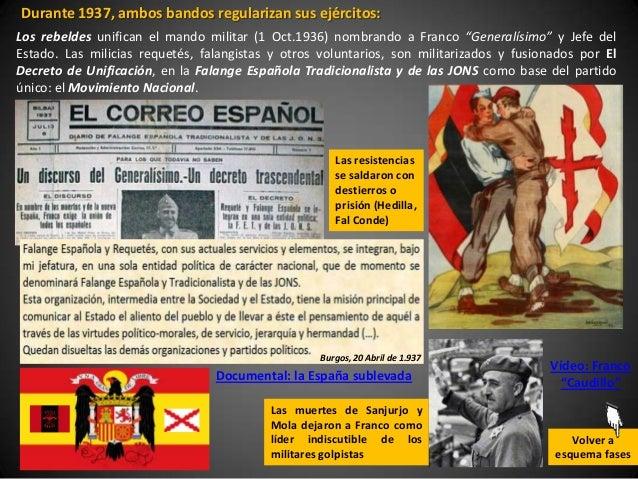 Durante 1937, ambos bandos regularizan sus ejércitos:Los rebeldes unifican el mando militar (1 Oct.1936) nombrando a Franc...