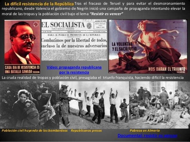 La difícil resistencia de la República Tras el fracaso de Teruel y para evitar el desmoronamientorepublicano, desde Valenc...