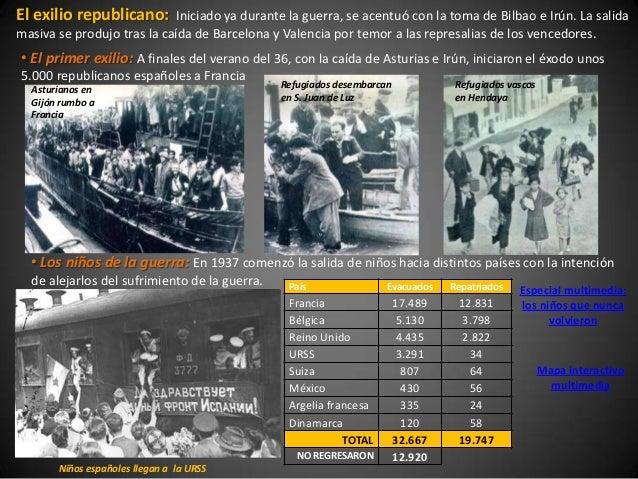 El exilio republicano:      Iniciado ya durante la guerra, se acentuó con la toma de Bilbao e Irún. La salidamasiva se pro...