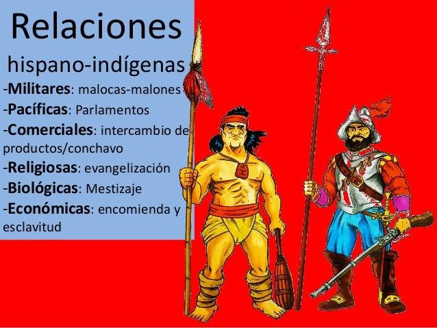Relaciones hispano-indígenas -Militares: malocas-malones -Pacíficas: Parlamentos -Comerciales: intercambio de productos/co...