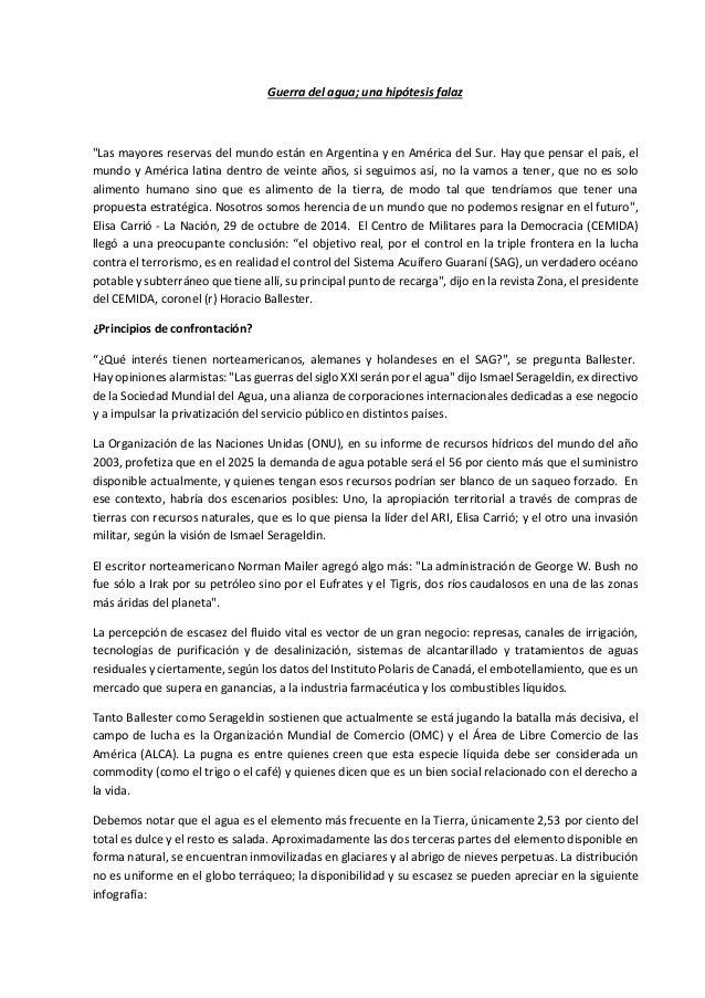 """Guerra del agua; una hipótesis falaz """"Las mayores reservas del mundo están en Argentina y en América del Sur. Hay que pens..."""