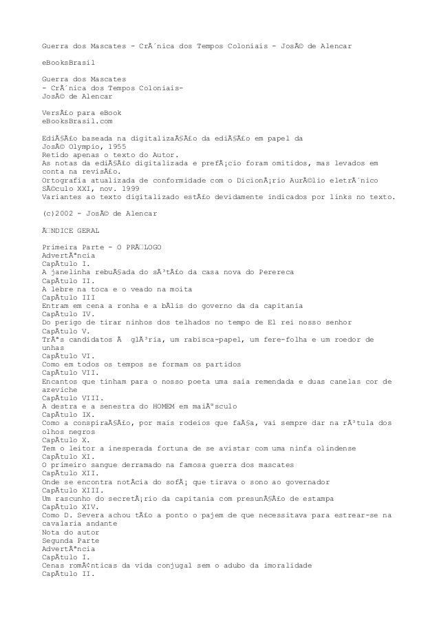 Guerra dos Mascates - Crônica dos Tempos Coloniais - José de Alencar eBooksBrasil Guerra dos Mascates - Crônica dos Tem...