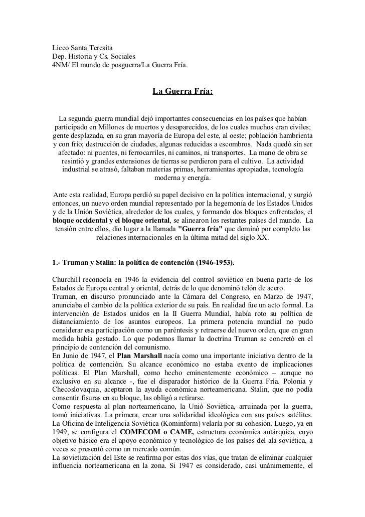 Liceo Santa TeresitaDep. Historia y Cs. Sociales4NM/ El mundo de posguerra/La Guerra Fría.                                ...