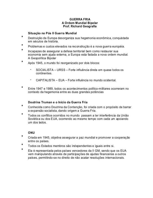 GUERRA FRIA                             A Ordem Mundial Bipolar                              Prof. Richard Geografia    Si...