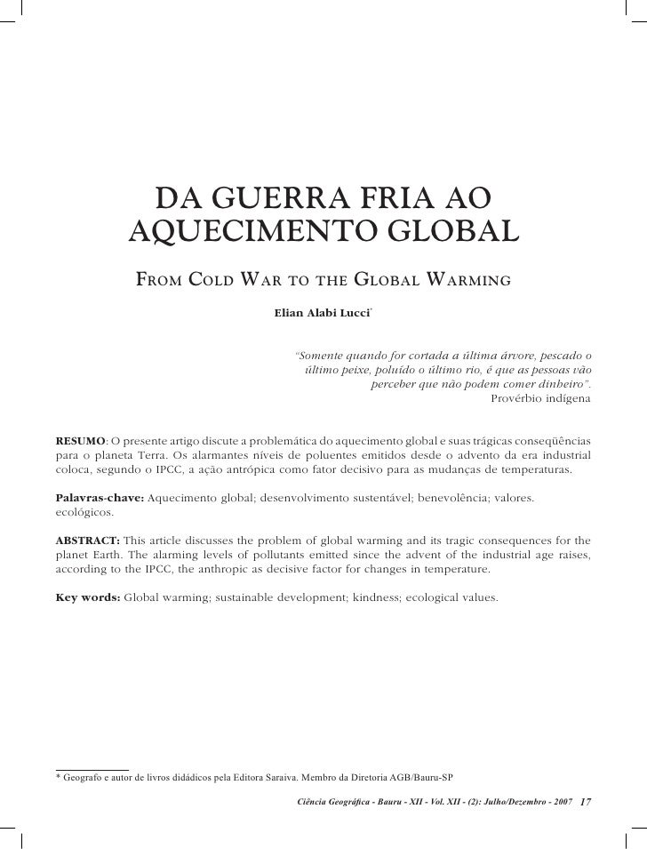 DA GuERRA FRIA AO                 AquECIMENTO GLOBAL                   From Cold War to the Global WarminG                ...