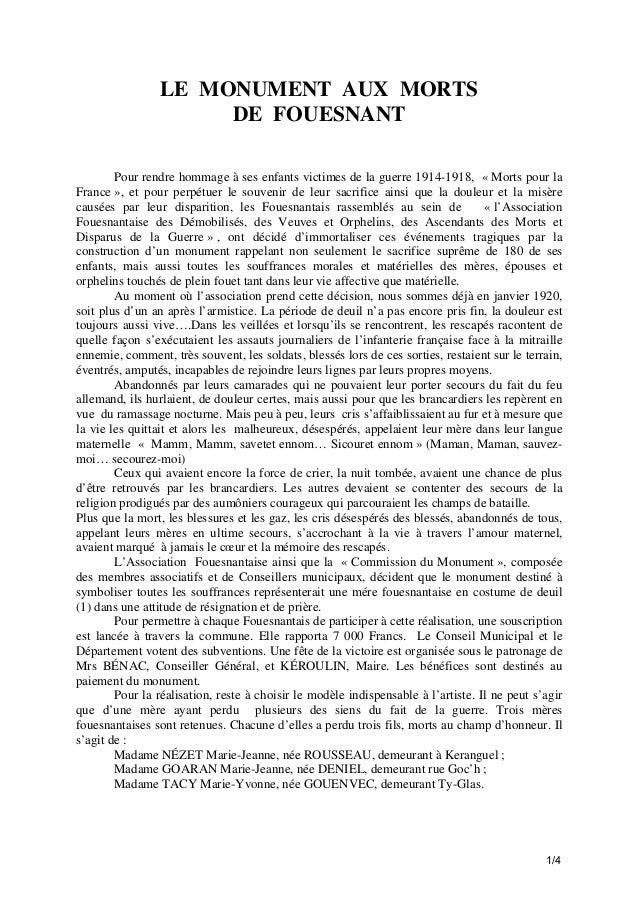 LE MONUMENT AUX MORTS DE FOUESNANT Pour rendre hommage à ses enfants victimes de la guerre 1914-1918, « Morts pour la Fran...