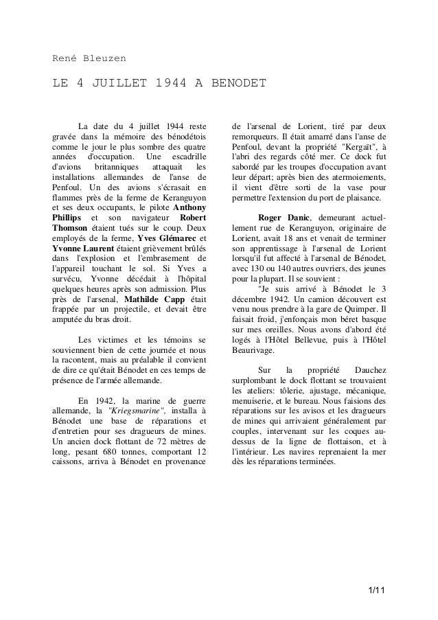 René Bleuzen  LE 4 JUILLET 1944 A BENODET  La date du 4 juillet 1944 reste gravée dans la mémoire des bénodétois comme le ...