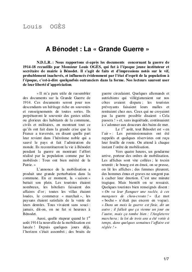 Louis  OGÈS  A Bénodet : La « Grande Guerre » N.D.L.R. : Nous rapportons ci-après les documents concernant la guerre de 19...