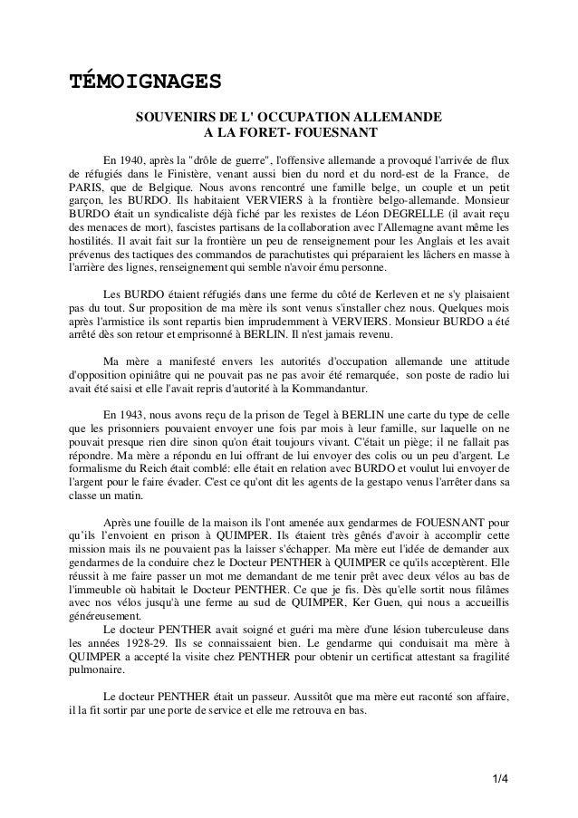 """TÉMOIGNAGES SOUVENIRS DE L' OCCUPATION ALLEMANDE A LA FORET- FOUESNANT En 1940, après la """"drôle de guerre"""", l'offensive al..."""