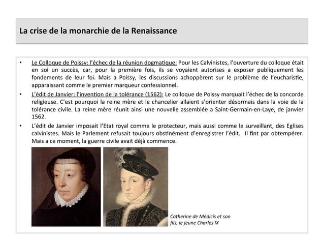 La crise de la monarchie de la Renaissance • Le Colloque de Poissy: l'échec de la réunion ...