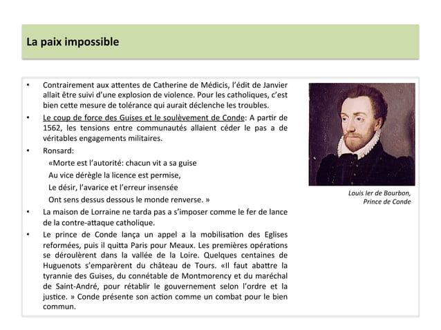 La paix impossible • Contrairement aux a_entes de Catherine de Médicis, l'édit de Janvier allai...