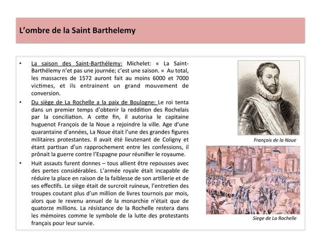 L'ombre de la Saint Barthelemy • La  saison  des  Saint-‐Barthélemy:  Michelet:  «  La  Saint-‐...
