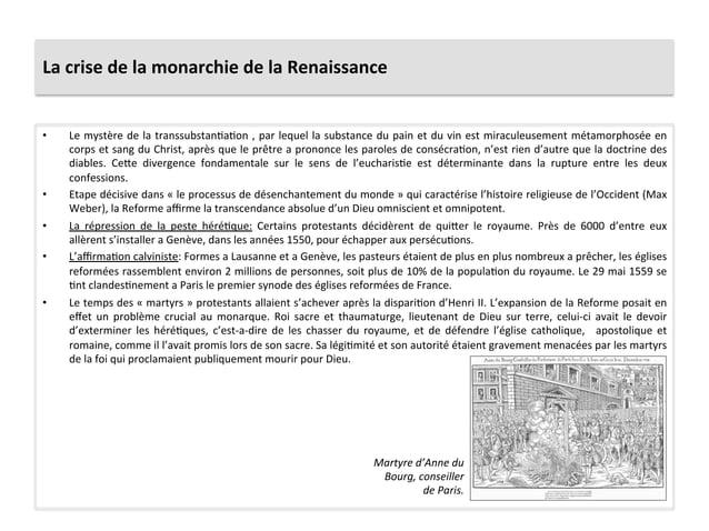 La crise de la monarchie de la Renaissance • Le mystère de la transsubstanPaPon , par leque...